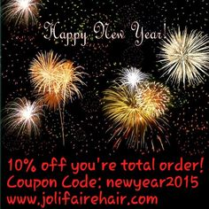 """HAPPY NEW YEAR from #Jolifairehair !!!!! Enjoy 10% off your total order Shop now!  Www.jolifairehair.com * *  YES the 10% applies to already discounted bundle deals!!! * *  Bundle Deal SALE ***Brazilian Body Wave/Deep Wave》Malaysian Straight 》Peruvian Body Wave Same Price!*** Www.jolifairehair.com 16"""" 18"""" 20"""" $160.00 18"""" 20"""" 22"""" $165.00 20"""" 22"""" 24"""" $180.00 22"""" 24"""" 26"""" $190.00 24"""" 26"""" 28"""" $199.00 (free shipping) 28"""" 28"""" 28"""" $222.00 TAG A FRIEND!! Www.jolifairehair.com Www.jolifairehair.com…"""