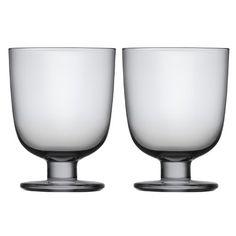 Iittala Lempi Glasses, Gray, Set of 2 Iittala