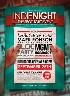 """""""Indienight"""" – This typography flyer was designed to promote an Indie Rock / Alternative / Pop / Electro / Grunge / Urban / Underground music event, such as a gig, concert, festival, party or weekly event in a music club and other kind of special evenings. This poster can also be used for a band's new album promotion or other advertising purposes, and you can even use it like a poster/flyer mockup."""