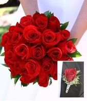 Fresh red roses wedding bouquet and one red rose boutonniere
