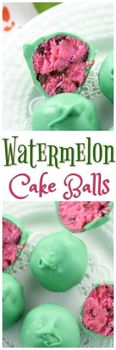 Watermelon Cake Balls are super delectable bites of moist cake with chocolate chips and a dunk of white chocolate!
