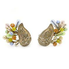 Vintage Kramer Pate De Verre Floral Basket Clip Earrings | Clarice Jewellery | Vintage Costume Jewellery