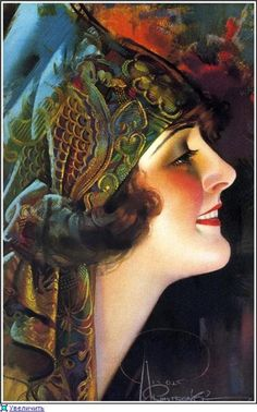 Rolf Armstrong; beauty in headwrap  http://fashiontreck.wordpress.com/