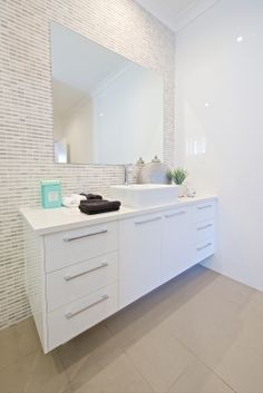 Vanity - tile wall, floating vanity, and chrome Upstairs Bathrooms, Downstairs Bathroom, Laundry In Bathroom, Dream Bathrooms, Beautiful Bathrooms, Small Bathroom, Bathroom Toilets, Bathroom Renos, Bathroom Renovations