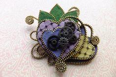 Hearts Felt Steampunk Zipper Brooch For Coat by MsLolaCreates, $42.00