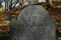 """Old Burial Hill in Marblehead, Mass. One of the gravestones says:    """"All you that doth my grave pass by,  As you are now so once was I,  As I am now so you must be,  Prepare for death and follow me.""""    Creepy! Also undeniable."""