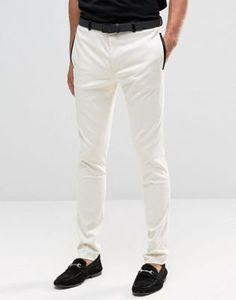 Белые супероблегающие брюки с отделкой из черного атласа ASOS