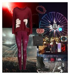 """""""Rock Concert🏟"""" by oksana-kolesnyk ❤ liked on Polyvore featuring GET LOST, American Eagle Outfitters, Illamasqua, Fiorelli, Kevyn Aucoin, Hot Topic, Valentino, Casetify and MAC Cosmetics"""
