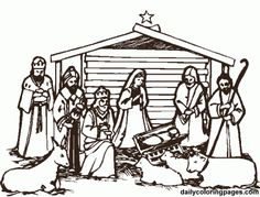 Christmas Nativity Coloring Pages Nativity Creche, Christmas Nativity Scene, Nativity Crafts, Christmas Scenes, Christmas Colors, Nativity Scenes, Christmas Ideas, Christmas Bible, Christmas Christmas