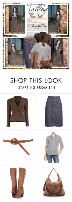 """""""Skirt and Boots"""" by daiscat ❤ liked on Polyvore featuring Dorothy Perkins, Tomas Maier, ASOS, Gap, Frye, Gucci and Kate Spade"""