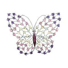 Empress Purple/Lilac and Aurora Borealis Swarovski Crystal Silver Tone Butterfly Brooch