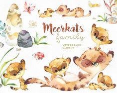 Buy Now Meerkats. Watercolor animals clipart little. Illustration Mignonne, Cute Illustration, Animals Watercolor, Clip Art, Cute Family, African Animals, Illustrations, Savannah Chat, Craft Projects
