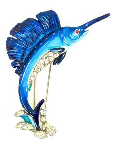 Vintage Circa 1940 Philippe TRIFARI Sailfish Figural Rhinestone Enamel Pin Clip Brooch - Fish Brooch Pin - Blue