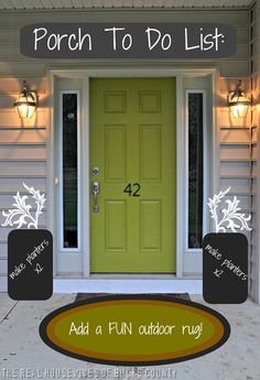 How to paint front door: I like this -- painting the door but keeping the sidelights white. My house is green, so I'm thinking of a yellow front door.