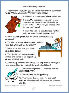 Our writing prompts for kids are fun, thought-provoking ideas to bring out the best responses in your students. They provide a great way for students to practice writing and spelling skills. 3rd Grade Writing Prompts, Kindergarten Writing Prompts, Writing Prompts For Writers, Picture Writing Prompts, Writing Process, Writing Practice, Writing Activities, Writing Ideas, 3rd Grade Spelling