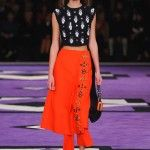 Prada at his best in Milan.. loving the orange skirt..