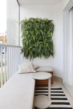 como decorar varanda pequena samambaia