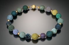 Cool Tone Beaded Bead Necklace - bead crochet by Lynne Sausele