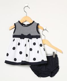 Vestido Baby com Tapa Fralda Azul Marinho e Branco