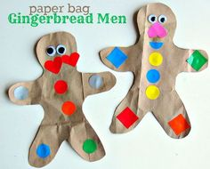 Easy gingerbread man craft for kids. I think double paper and stuff for beat buddies for our Gingerbread Man story. Preschool Christmas, Christmas Crafts For Kids, Kids Christmas, Holiday Crafts, Holiday Fun, Holiday Ideas, Xmas, Toddler Crafts, Preschool Crafts