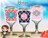 Custom Monogrammed Wine Goblet, Personalized Wine Glass, Custom Cocktail Cup