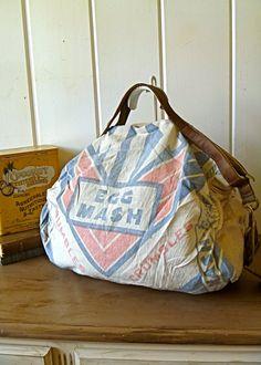 Vintage feed sack bag.