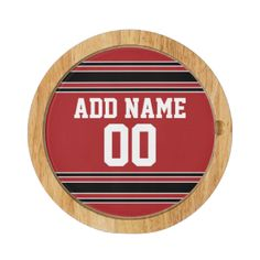 Red and White colors -- If you are a Fantasy Football team owner, make your own products and show off to your friends! Or - Do you play High School Football and want a memento? This jersey design is perfect for anyone playing sports. #college #teams #spirit #teen #player #coach #stripes #boys #kids #athlete #league #softball #men #personalized #customized #no #minimum #fun #favorite #game #athletic #color #baseball #soccer #football