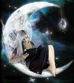 Enjoy a Good Fantasy Tonight! - Art: Moonlight Reading by AntonellaB My Fantasy World, Fantasy Art, Magical Creatures, Fantasy Creatures, Fairy Dust, Fairy Tales, Moon Fairy, Ange Demon, Witches