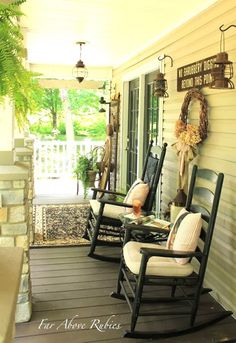 60 Awesome Farmhouse Porch Rocking Chairs Decoration - Page 28 of 57 - Abidah Decor Outdoor Rooms, Outdoor Living, Outdoor Decor, Southern Front Porches, Country Porches, Rustic Porches, Country Homes, Rocking Chair Porch, Decks And Porches
