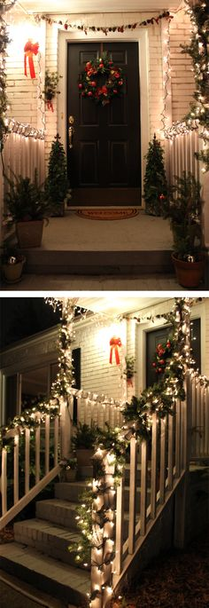 Pretty up your life with this Holly Jolly Front Porch Christmas Decor. #porch #christmas #decor