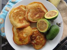 Feijoa Fritters 50g butter 1/4 cup white sugar (I used citrus sugar) 1 cup flour pinch of salt 1 1/2 teaspoon baking powder 1 egg 3/4 cup milk 1/2 cup feijoa flesh, finely diced