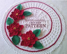 Doily with Poinsettia Crochet Pattern Christmas flowers | Etsy Crochet Doily Patterns, Crochet Diagram, Crochet Doilies, Crochet Flowers, Flower Patterns, Crochet Christmas Decorations, Christmas Flowers, Holiday Decorations, Round Table Centerpieces