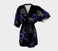 Midnight Orchid Japanese Silk or Chiffon Kimono by FarrellFineArt