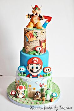 Super Mario Cake / Tarta Super Mario by rincondulcebysusana Pastel Nintendo, Nintendo Cake, Nintendo Sega, Super Nintendo, Nintendo Switch, Bolo Do Mario, Bolo Super Mario, Super Mario Cupcakes, Mario Bros Kuchen