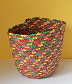 African colors basket, Pink green wicker bin, Colorful home, Bohemian African Colors, Toy Basket, Leaf Coloring, Handmade Home, House Colors, Handicraft, Mother Nature, Pink And Green, Wicker
