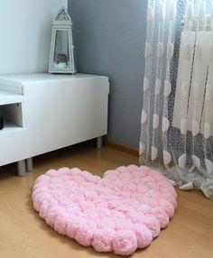Pom Pom Rug Pom Pom Heart Rug Baby Room Rug by PomPomMyWorld