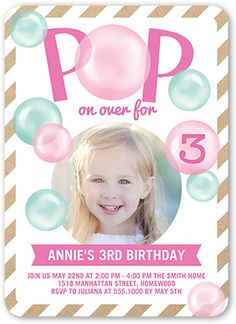Girls Birthday Invitations: Pop On Over, Rounded Corners, Pink
