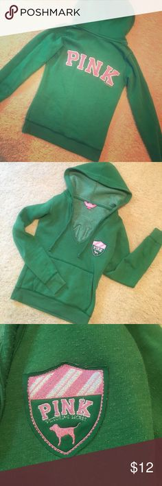 "PINK VS green hoodie sweatshirt Victoria's Secret PINK collection. Green pullover hoodie sweatshirt. The word ""PINK"" is written on the back in pink lettering and there is an emblem on the front left chest. V-open with drawstring. Size XS. PINK Victoria's Secret Other"