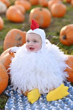 21 scary halloween costumes for kids!Halloween may be a time of all things spooky and scary but you just can\'t beat the cuteness of a toddler in costume. Find the best toddler Halloween Costume . Baby Chicken Halloween Costume, Baby Halloween Costumes Newborn, Baby Boy Halloween, Baby Halloween Costumes For Boys, Diy Halloween Costumes For Kids, Costumes Kids, Costume Ideas, Baby Animal Costumes, Infant Costumes