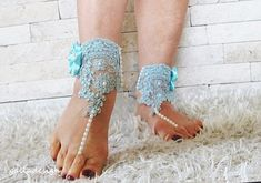 Wedding Beach turquoise bridal footwear sandal  pearl beaded