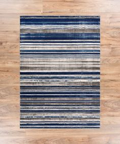 """AmazonSmile: Riviera Stripe Blue & Beige Vintage Modern Geometric Abstract Shabby Chic Area Rug 5 x 7 ( 5'3"""" x 7'3"""" ) Neutral Thick Soft Plush Shed Free: Home & Kitchen"""