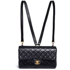 What Goes Around Comes Around Vintage Chanel quilted lambskin leather... ($6,025) ❤ liked on Polyvore featuring bags, backpacks, black, vintage rucksack, quilted flap bag, shoulder bag, flap bag and vintage bags