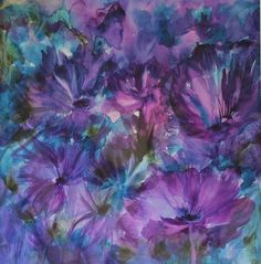 Winners of the Jean Haines Flower Painting Competition, Velvet Flowers by Esther Hawke