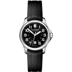Victorinox Swiss Army Women's 'Officer's' Stainless Steel Black Dial Rubber Strap Watch. I have the stainless steel version of this watch and liked it so much I got the rubber band version which is lighter for work.