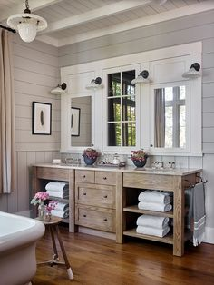Whimsical lakeside cottage retreat with cozy interiors on Lake Keowee is part of Lake house bathroom - A rustic lakeside cottage designed by architects T S Adams Studio along with Westbrook Interiors is located on Lake Keowee, South Carolina Lakeside Cottage, Interior Windows, Cottage Retreat, Home, Lake House Bathroom, Bathroom Interior, Cottage Bathroom, Bathrooms Remodel, Cozy Interior