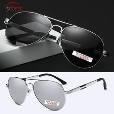 417a656cf50 SCOBER   Men Pilot Al-Mg Polarized Sunglasses Spring Temple Large Frame  Driving Fishing