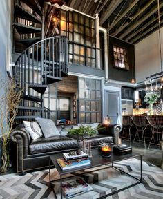 Beautiful industrial style living room décor with leather sofa, modern industrial style loft, indus Loft Interior, Interior Design Living Room, Living Room Designs, Living Room Decor, Dining Room, Industrial Style Kitchen, Industrial Design Furniture, Industrial House, Vintage Industrial