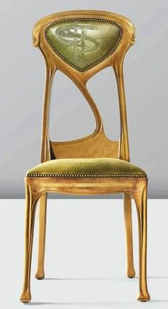 Guimard - Art Nouveau - Chaise à Haut Dossier - 1900