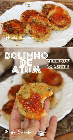 Bolinho de batata amassada com atum, milho verde e cebolinha. Moldados em formato de mini hambúrguer empanado na farinha de rosca e grelhado no azeite. Crocante por fora e macio por dentro, muito saboroso, saudável e fácil de fazer. #bolinhodeatum #atum #atumcombatata #bolinhodeatumgrelhado #bolinhogrelhado #bolinhomontaencanta #montaencanta Appetizer Recipes, Appetizers, Small Cake, Canapes, Carne, Food And Drink, Yummy Food, Snacks, Chicken