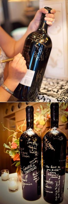 wine bottle wedding guest book ideas